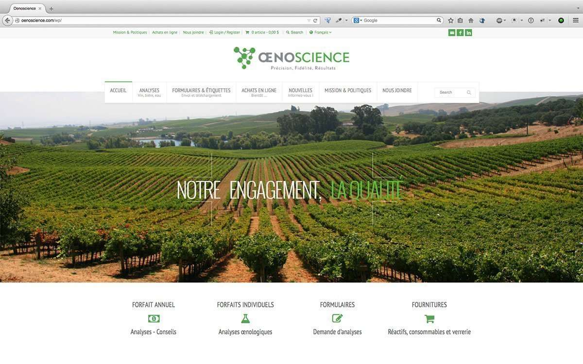 Oenoscience, Wordpress